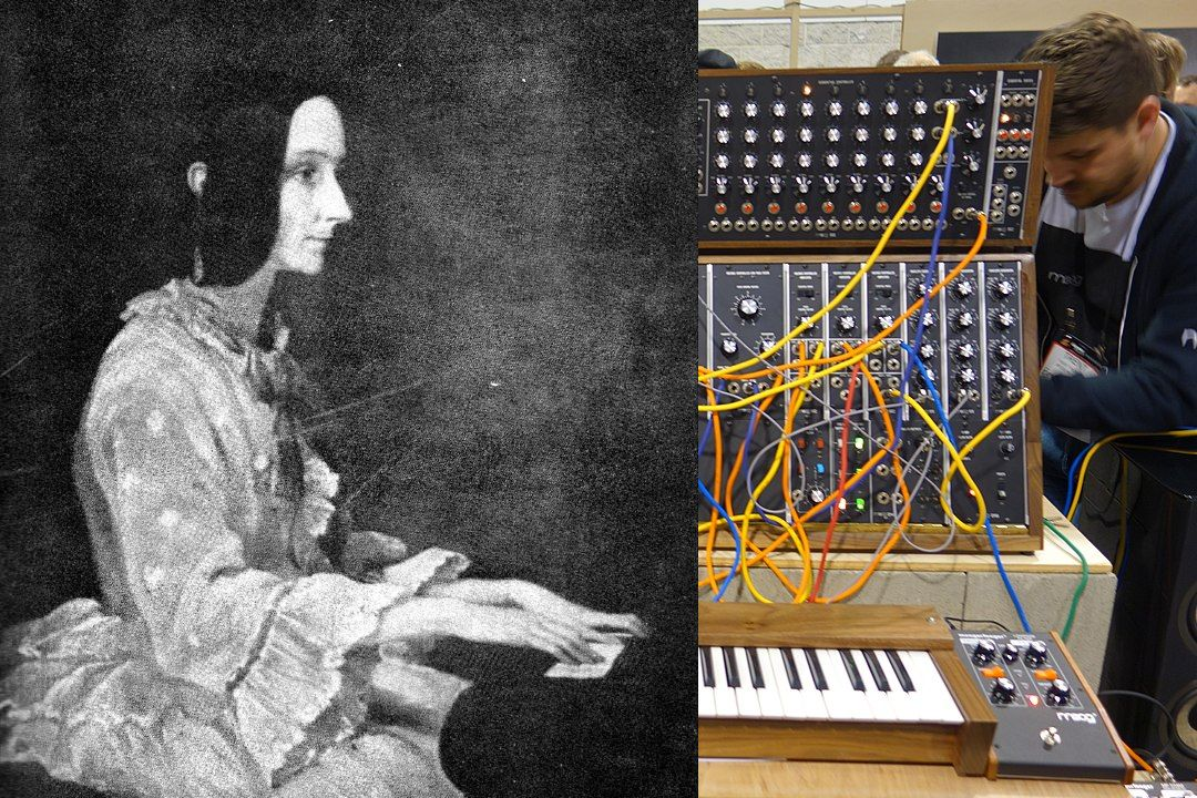 Ada Lovelace on the left; a synthesizer on the right (synth photo by Pete Brown via Wikicommons/CC)