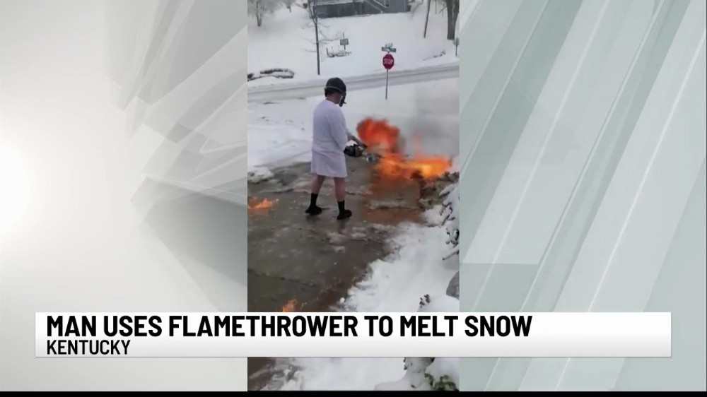 Man Uses Flamethrower To Melt Snow