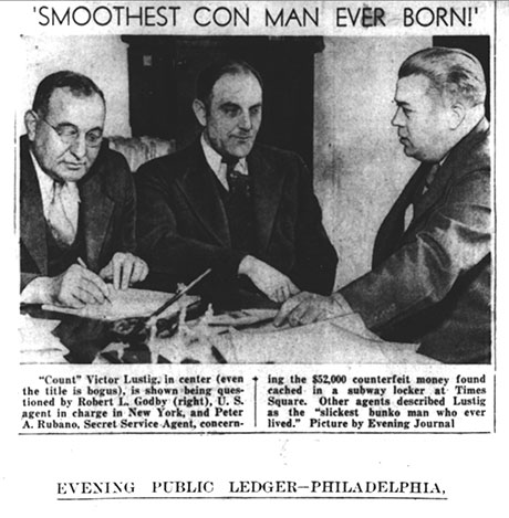 Victor Lustig in a 1935 newspaper photo.