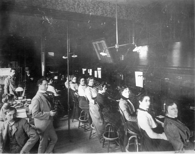 Telephone Switchboard Operators, 1900, Salem, Massachusetts. Salem State Archives via Flickr/Creative Commons - https://flic.kr/p/2i2tuGw