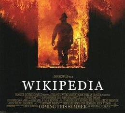 "Movie poster for ""Backdraft"" but with the word ""Wikipedia"" in the title slot"