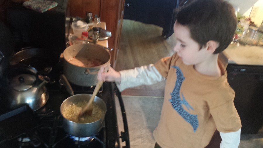 Four year old cooking