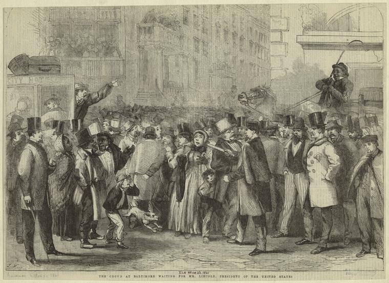 Thomas Nast cartoon of a crowd waiting for Abraham Lincoln in Baltimore, via Wikicommons https://en.wikipedia.org/wiki/Baltimore_Plot#/media/File:1861_feby_23_nast.jpg
