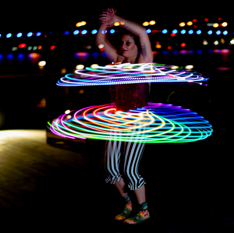 Hula hooper in action (photo by Victoria Pickering via Flickr/Creative Commons https://flic.kr/p/FZS7B2)
