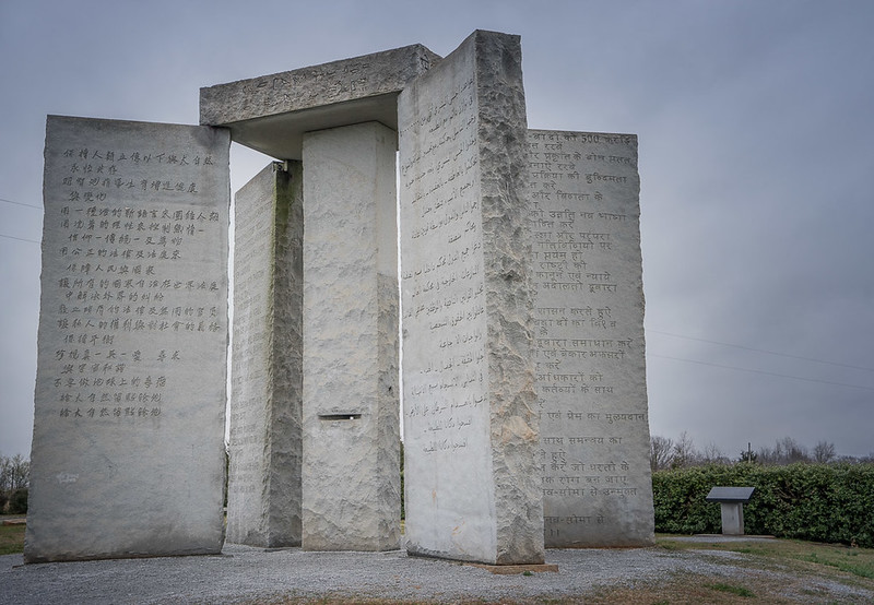 Georgia Guidestones (photo by Dina Eric via Flickr/Creative Commons https://flic.kr/p/pb4Yjb)