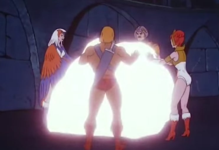 He-Man, Sorceress, Man-at-Arms and Teela hug a glowing comet