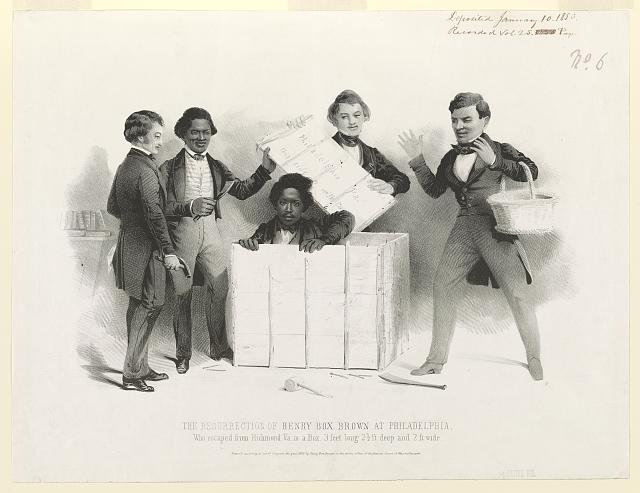 "A somewhat comic yet sympathetic portrayal of the culminating episode in the flight of slave Henry Brown ""who escaped from Richmond Va. in a Box 3 feet long, 2-1/2 ft. deep and 2 ft. wide."" In the office of the Pennsylvania Anti-Slavery Society, the young Brown emerges from a crate as several figures, including Frederick Douglass (holding a claw hammer at left) look on. Details of Brown's escape, whereby he had himself shipped via Adams Express from Richmond to Philadelphia, were widely publicized in a narrative of his ordeal published under his own name in 1849. The box itself became an abolitionist metaphor for the inhumanity and spiritual suffocation of slavery. It is shown on an undated broadside published in Boston (Library of Congress, Rare Book and Special Collections Division, Broadside Collection, portfolio 65, no. 16)."