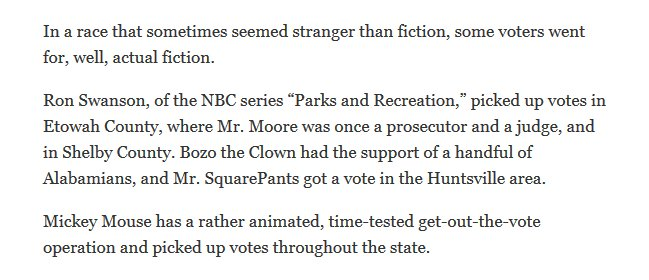 """""""In a race that sometimes seemed stranger than fiction, some voters went for, well, actual fiction. Ron Swanson, of the NBC series 'Parks and Recreation,' piced up votes in Etowah County, where Mr. Moore was once a prosecutor and a judge, and in Shelby County. Bozo the Clown had the support of a handful of Alabamians, and Mr. SquarePants got a vote in the Huntsville area. Mickey Mouse has a rather animated, time-tested get-out-the-vote operation and picked up votes throughout the state."""""""