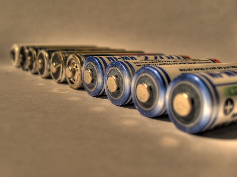 A row of blue and silver batteries (Photo by Razor512 via Flickr/Creative Commons)