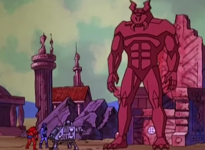 Skeletor and Beast Man bring to life Colossor, a creepy giant stone statue.