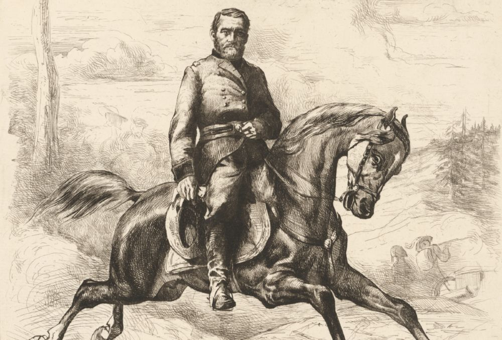 Black and white drawing of US Grant on horseback (National Portrait Gallery, Smithsonian Institution via Creative Commons https://npg.si.edu/object/npg_NPG.83.180)
