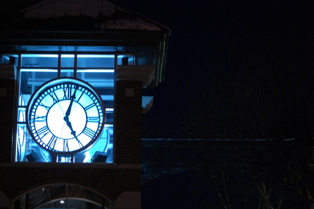 Face of the clock tower outside Eagle Square in Concord, NH