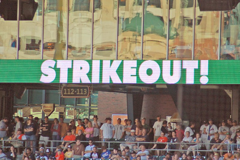 "LED sign at the ballpark says ""STRIKEOUT!"" (Photo by leadfoot via Flickr/Creative Commons https://flic.kr/p/QNBmu)"