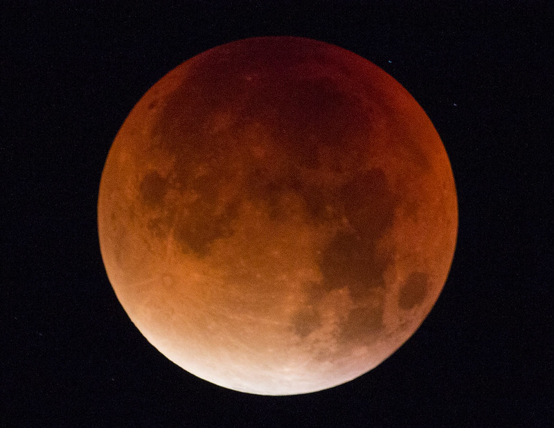 Close up of a super blood moon in nearly full eclipse. (Photo by Mibby23 via Flickr/Creative Commons https://flic.kr/p/yfenbV)