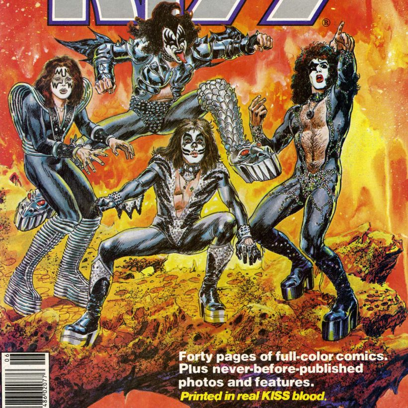 """Close-up of KISS Super Special cover that shows the band in comic character form, and says """"Printed in real KISS blood"""""""