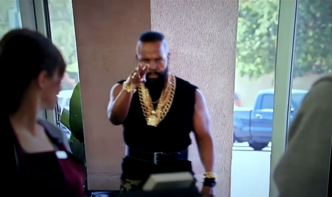 Mr. T has got his eyes on the people at the bank.