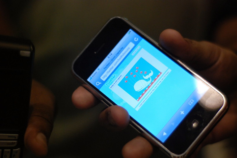 """A smartphone user encounters the Twitter """"Fail Whale."""" (Photo by Baishampayan Ghose via Flickr/Creative Commons https://flic.kr/p/5foNqR)"""