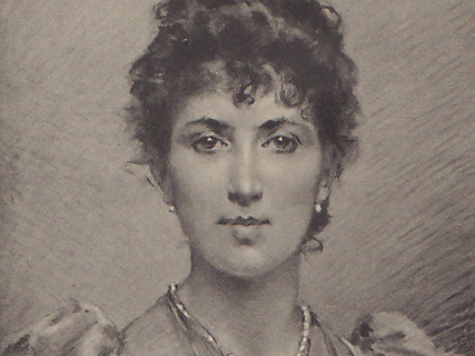 Close-up from a print of Agnes B Marshall.