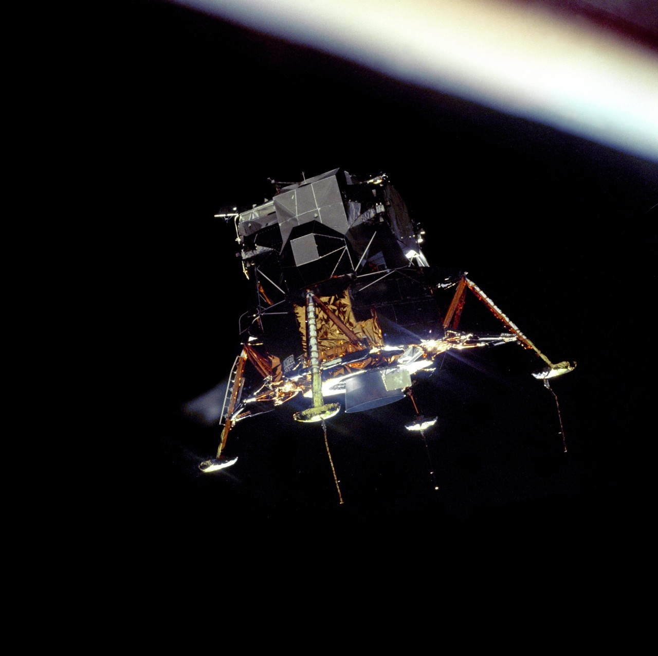 The Apollo 11 Lunar Module Eagle, in a landing configuration was photographed in lunar orbit from the Command and Service Module Columbia. (NASA https://www.nasa.gov/multimedia/imagegallery/image_feature_1161.html)