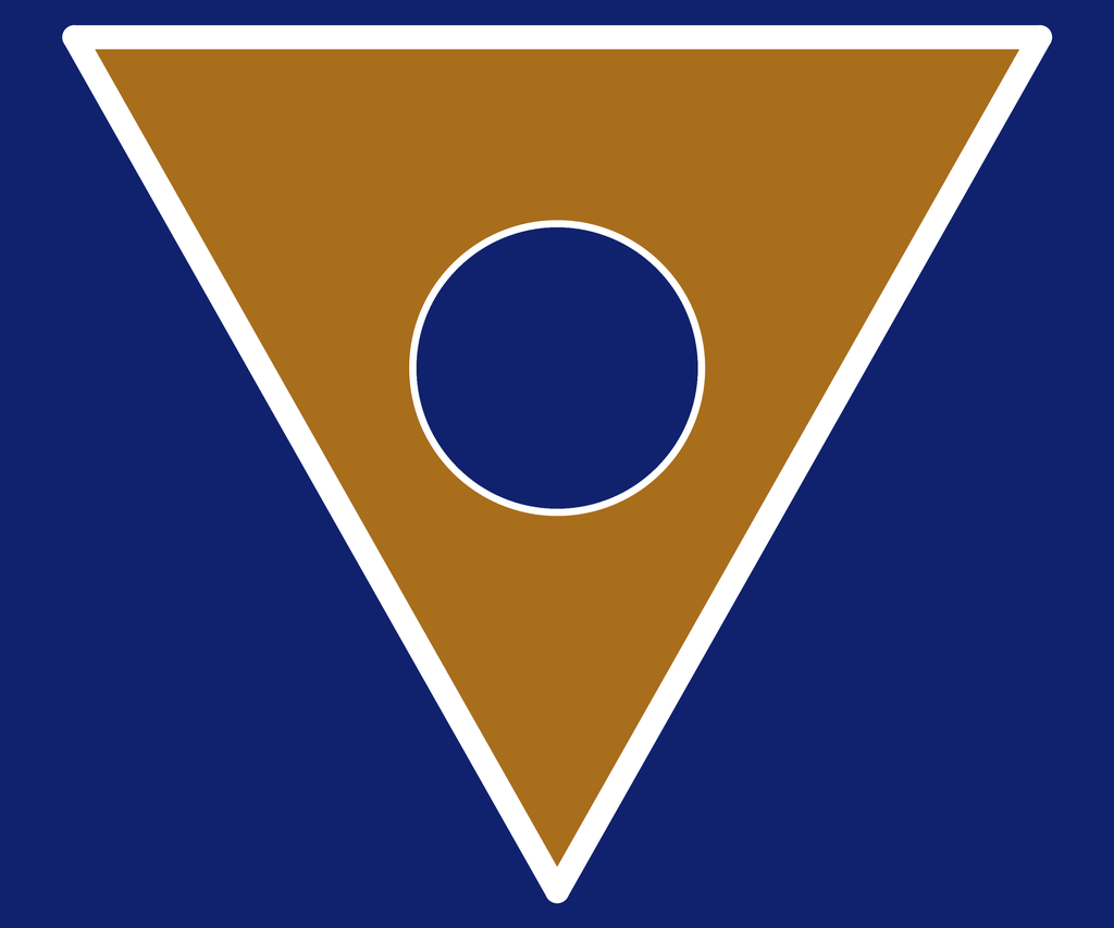 Flag of New Atlantis: an orange-brown triangle pointing downward, with a white border and a navy blue circle in the middle, set against a navy blue rectangle. Hyméros, CC BY-SA 4.0 https://creativecommons.org/licenses/by-sa/4.0, via Wikimedia Commons.