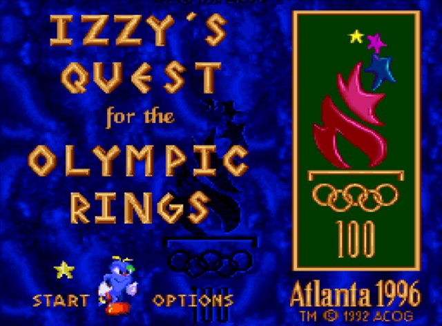 """Title screen for """"Izzy's Quest for the Olympic Rings"""" showing Izzy preparing to run toward a stylized Olympic torch, with the name of the game written in Greek-like letters, all over a blue background."""