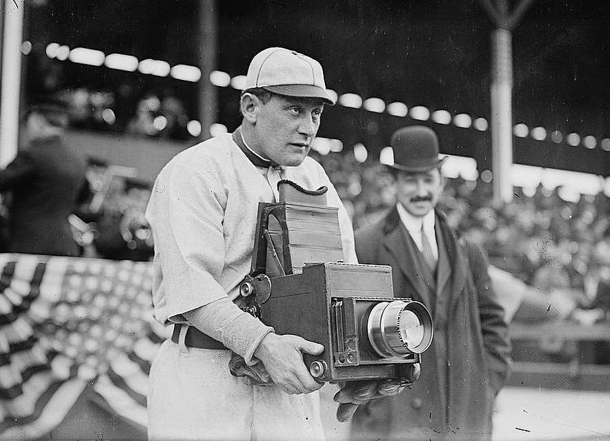 """Herman A. """"Germany"""" Schaefer (1877-1919), trying out the other side of the camera during the Washington Senators visit to play the New York Highlanders in April of 1911. (Photo via Wikicommons https://en.wikipedia.org/wiki/Germany_Schaefer#/media/File:Germany_Schaefer_1911.jpg)"""