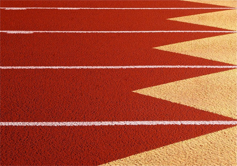 Lanes on a running track. (Photo by Dean Hochman via Flickr/Creative Commons https://flic.kr/p/kd2Awn)