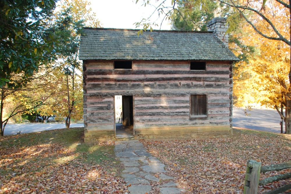 A replica of the log cabin that served as the capitol building for the state of Franklin in the late 18th century.