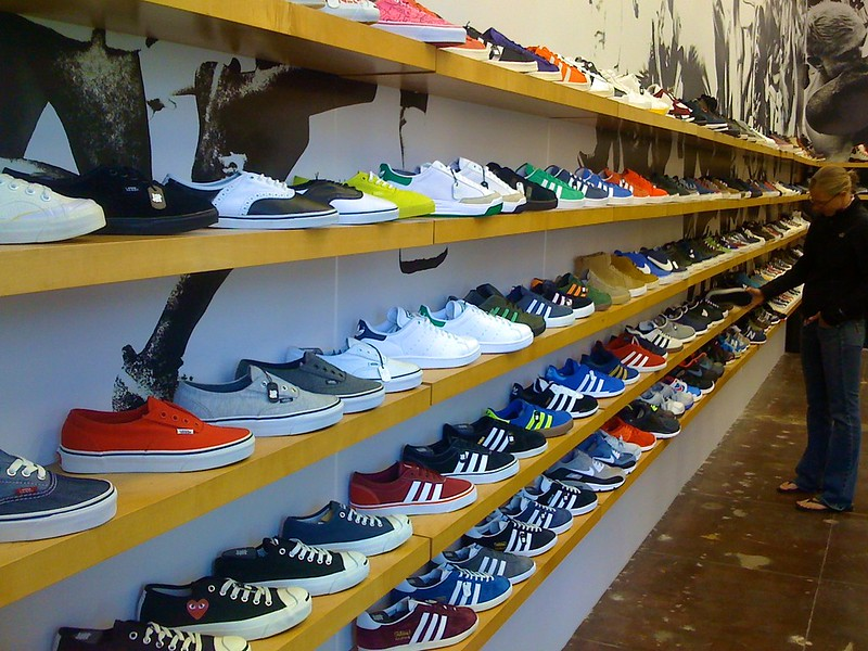 Shelves of gym shoes (not the ones featured in today's show). Photo by Sam Beebe via Flickr/Creative Commons https://flic.kr/p/bErtv2