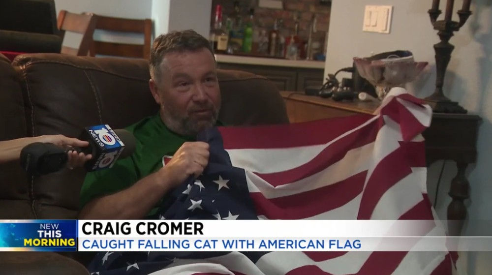 Craig Cromer: Caught Falling Cat With American Flag