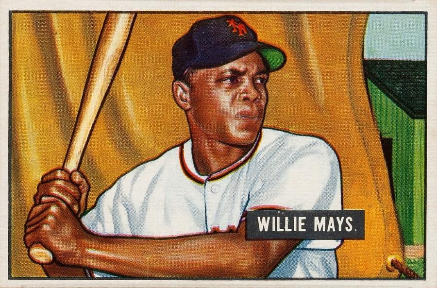1951 Bowman Willie Mays baseball card. (via Wikicommons https://commons.wikimedia.org/wiki/Category:Willie_Mays#/media/File:1951_Bownman_Willie_Mays.jpg)
