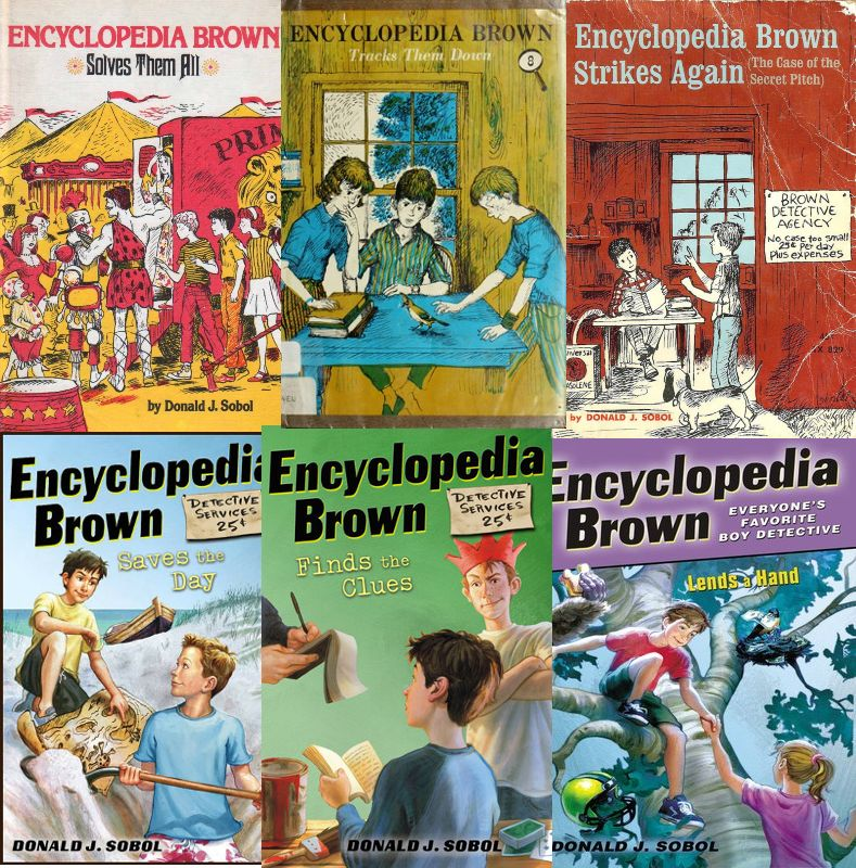 The covers of six Encyclopedia Brown books.