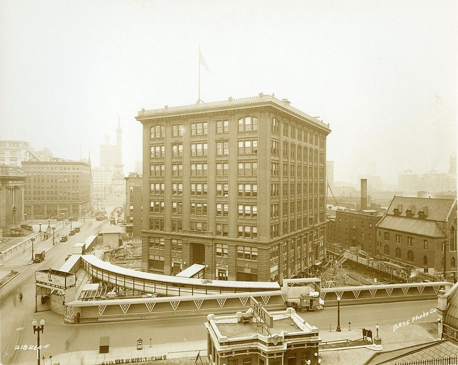 Crews move the Indiana Bell central office building to its new location, 1930. (Photo by William H. Bass Photo Company - Ray Hinz Collection, Public Domain, via Wikicommons https://commons.wikimedia.org/w/index.php?curid=84041430)