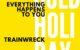 """Cover for the """"Everything Happens To You"""" single: yellow background, white text reading """"COLD HOLIDAY"""" and in black text the words """"Everything Happens To You"""" and """"Trainwreck"""""""